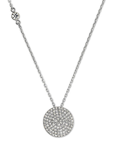 Michael Kors Silver-Tone and Clear Glitz Disc Pendant Necklace