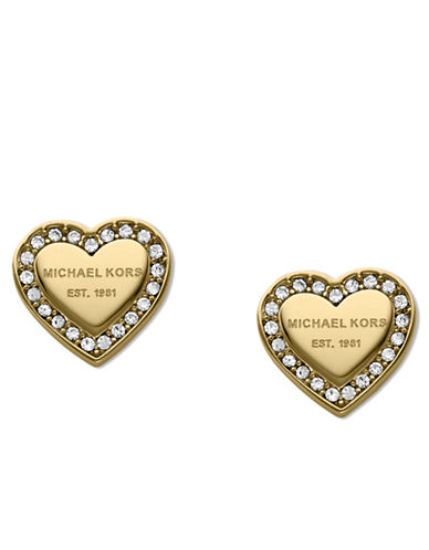 michael kors female 220183 goldtone and glitz logo heart stud earrings
