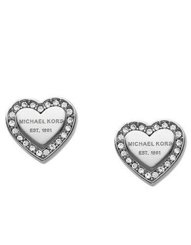 michael kors female 45900 silvertone and glitz logo heart stud earrings