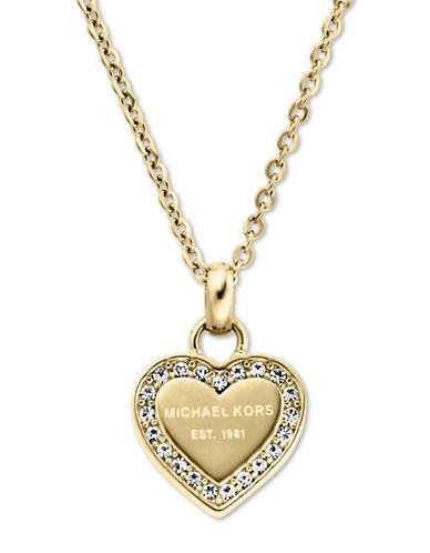 michael kors female 220183 goldtone and glitz heart pendant necklace