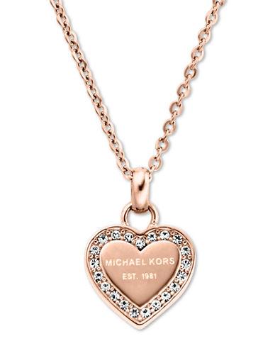 michael kors female 255807 rose goldtone and glitz heart pendant necklace