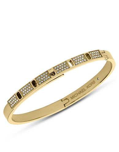 MICHAEL KORS Gold Tone and Glitz Turnlock Bangle Bracelet