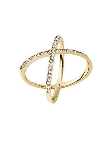michael kors female 220183 goldtone and glitz x ring