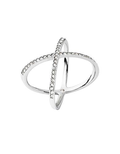 michael kors female 45900 crisscross silvertone encrusted ring