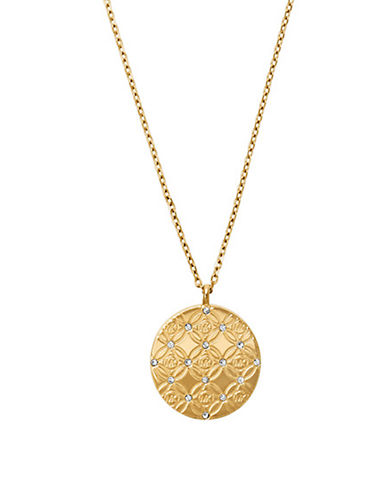 Upc 796483176966 michael kors monogram pendant necklace upc 796483176966 product image for michael kors etched monogram disc pendant necklace gold mozeypictures Choice Image