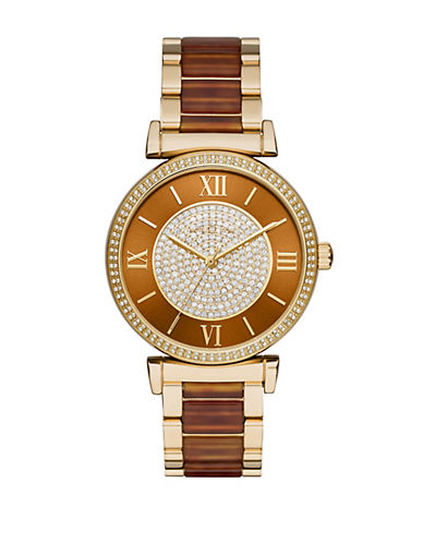 MICHAEL KORS Caitlin Goldtone Stainless Steel and Amber Tortoise Link Bracelet Watch