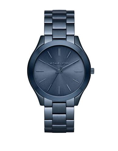 michael kors male slim runway blue ip stainless steel bracelet watch