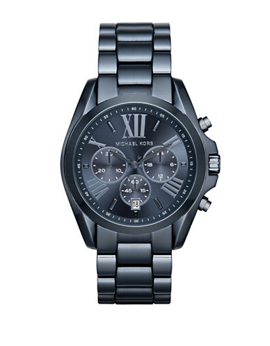 michael kors male bradshaw chronograph blue ip stainless steel bracelet watch