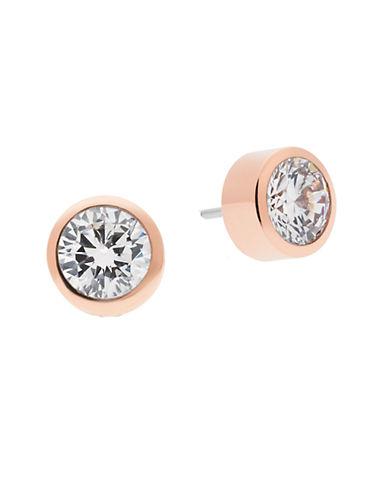 michael kors female 255807 rose goldtone clear roundcut crystal stud earrings