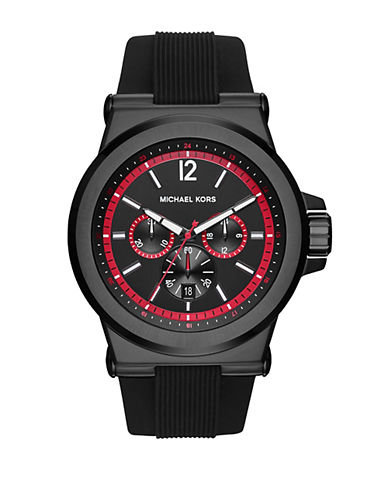 Michael Kors Dylan Black Stainless Steel Silicone-Strap Chronograph Watch