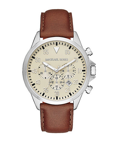 michael kors male 211468 gage silvertone stainless steel leatherstrap watch
