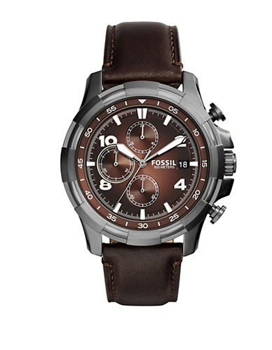 Fossil Dean Gunmetal Stainless Steel and Brown Leather Strap Watch