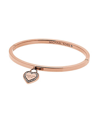 michael kors female heritage logo heart charm bangle braceletrose goldtone