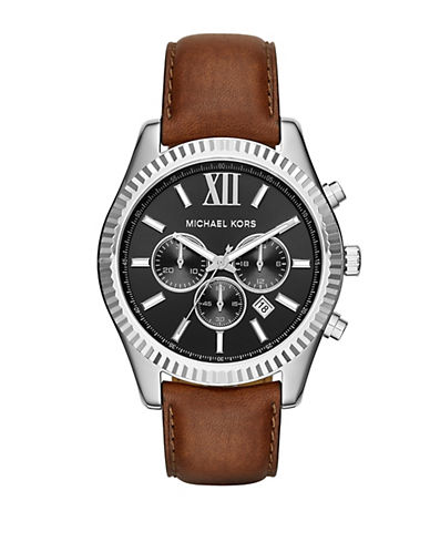 michael kors male 211468 lexington stainless steel brown leather strap chronograph