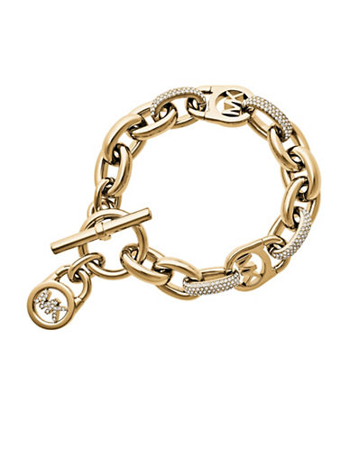 michael kors female goldtone oversized chain link bracelet