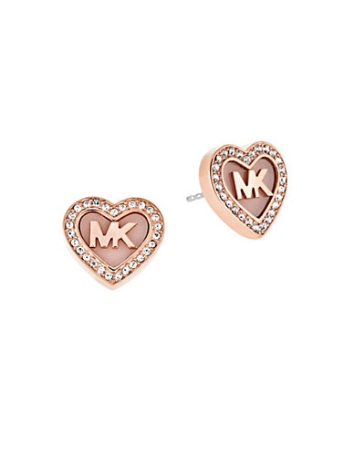 michael kors female 255807 pave heart stud earrings