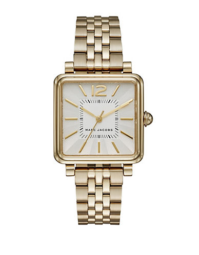 marc jacobs female vic goldtone stainless steel bracelet watch