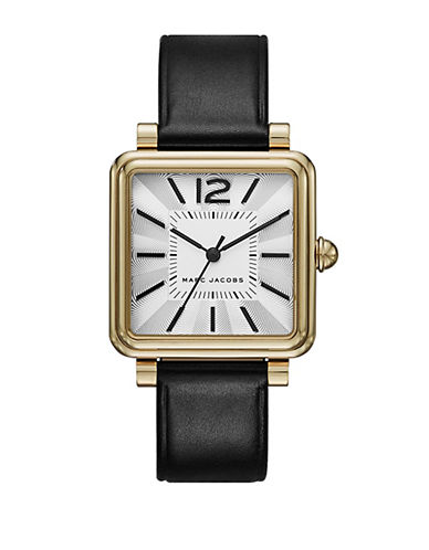 marc jacobs female vic goldtone stainless steel leather strap watch