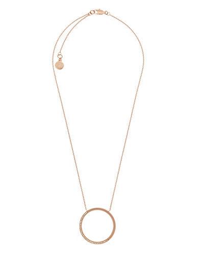 michael kors female 255807 goldtone circle pave pendant necklace