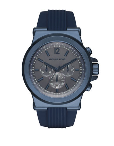 michael kors male dylan navy silicone chronograph watch