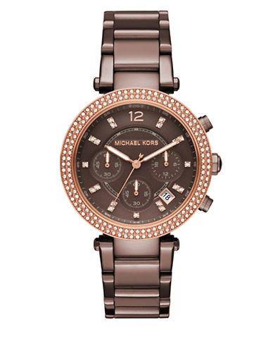 michael kors female parker paveacute sable ip stainless steel bracelet watch