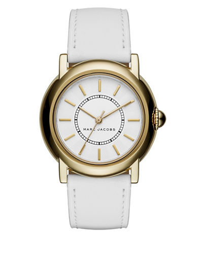 marc jacobs female 45883 stainless steel and leather textured dial strap watch mj1449