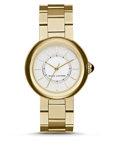 marc jacobs female courtney goldtone stainless steel bracelet watch