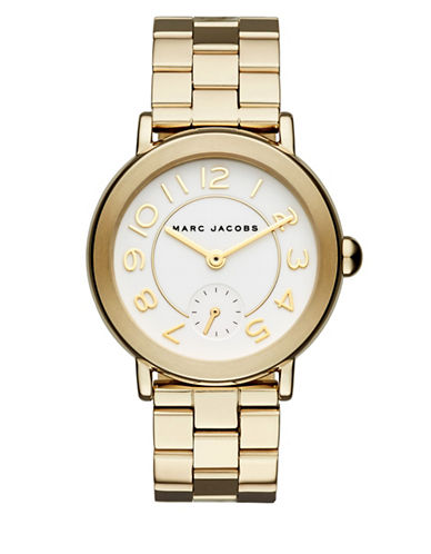 marc jacobs female riley goldtone stainless steel bracelet watch