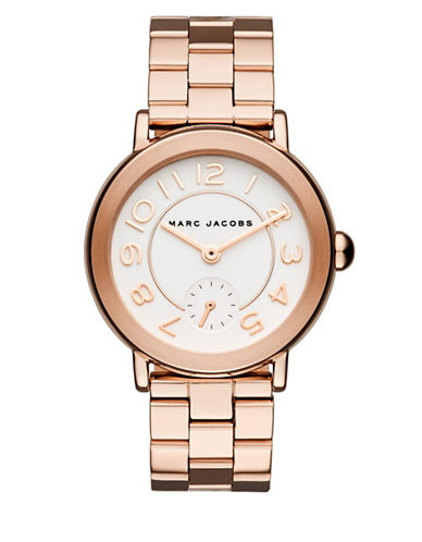 marc jacobs female riley rose goldtone stainless steel bracelet watch