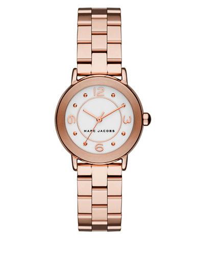 marc jacobs female 255807 rose goldtone stainless steel link bracelet watch mj3474