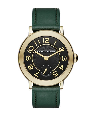 marc jacobs female riley goldtone stainless steel and leather strap watch clsc36ipggrnstrp