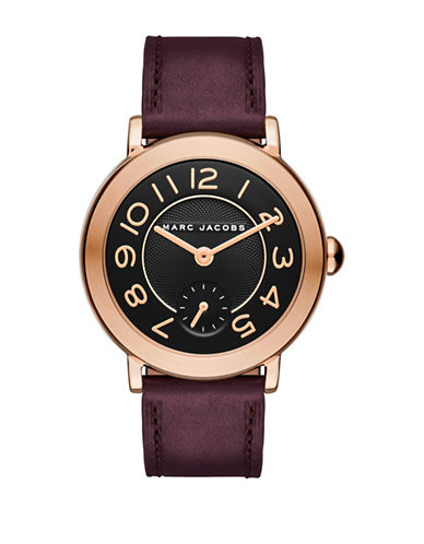 marc jacobs female riley rose goldtone stainless steel leather strap watch