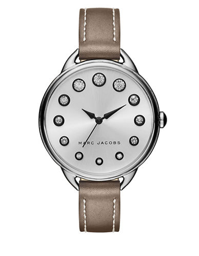 marc jacobs female betty stainless steel metallic leather strap watch