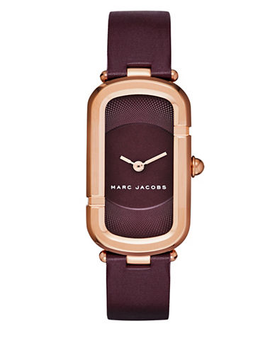 marc jacobs female 215965 monogram rose goldtone stainless steel guilloche dial leather strap watch jmc39iprgbgstpb