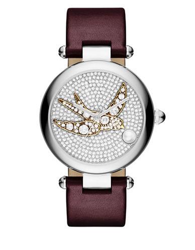 marc jacobs female 215965 dotty cabochon pearl stainless steel leather strap watch dty34ssbrgstpbir