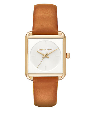 michael kors female lake goldtone stainless steel leather strap watch