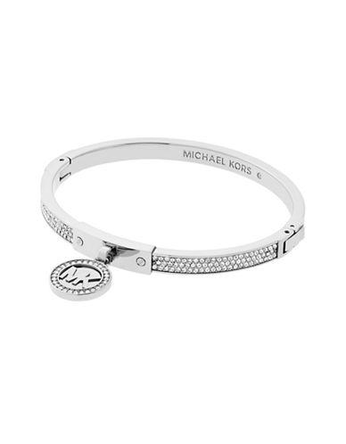 michael kors female 45900 silvertone fulton hinge bracelet