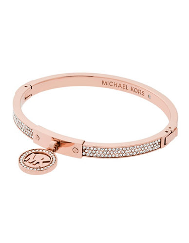 michael kors female rose goldtone fulton hinge charm bracelet