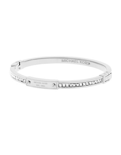 michael kors female cubic zirconia and stainless steel hinged bangle bracelet