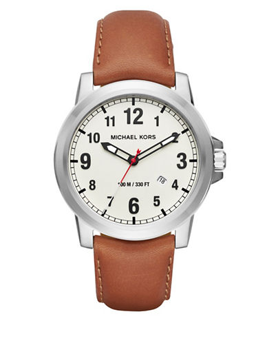 michael kors male paxton stainless steel leather strap watch