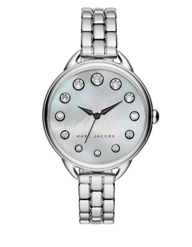 marc jacobs female betty motherofpearl crystal stainless steel watch