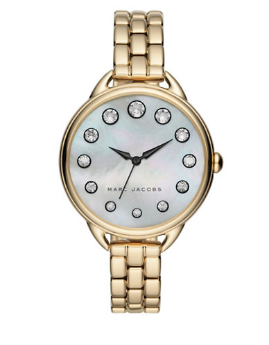marc jacobs female motherofpearl crystal stainless steel bracelet watch