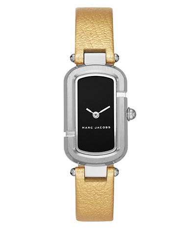marc jacobs female silvertone stainless steel and metallic leather twohand analog watch