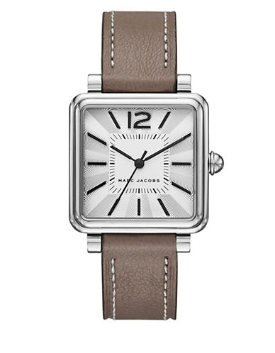 Vic Polished Stainless Steel Leather-Strap Analog Watch