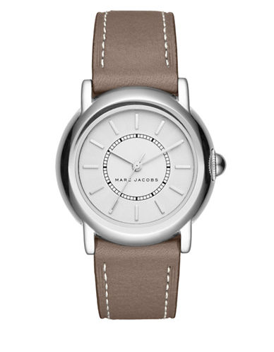 marc jacobs female courtney stainless steel leatherstrap analog watch