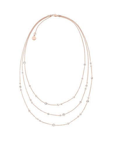 michael kors female modern brilliance cubic zirconia rose goldtone multirow necklace