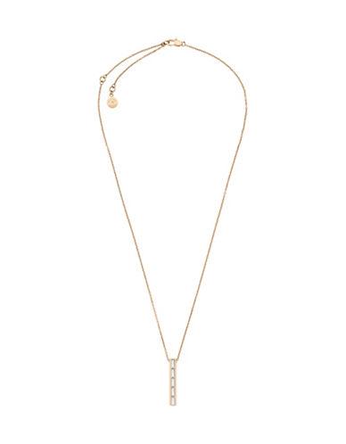 michael kors female black tie affair cubic zirconia goldtone barrel pendant necklace