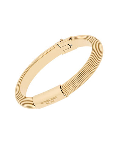 michael kors female cubic zirconia and goldtone stainless steel ridged bangle bracelet