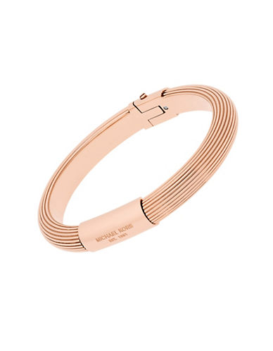 michael kors female cubic zirconia and rose goldtone stainless steel ridged bangle bracelet