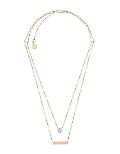 michael kors female cubic zirconia layered chain pendant necklace